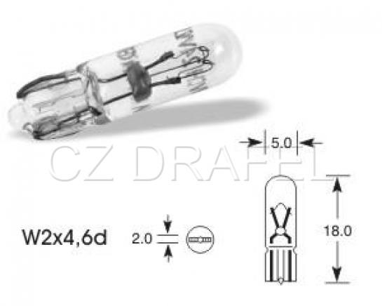 žárovka 12V 1.2W W2x4,5d přístrojová čirá bílá bez patice